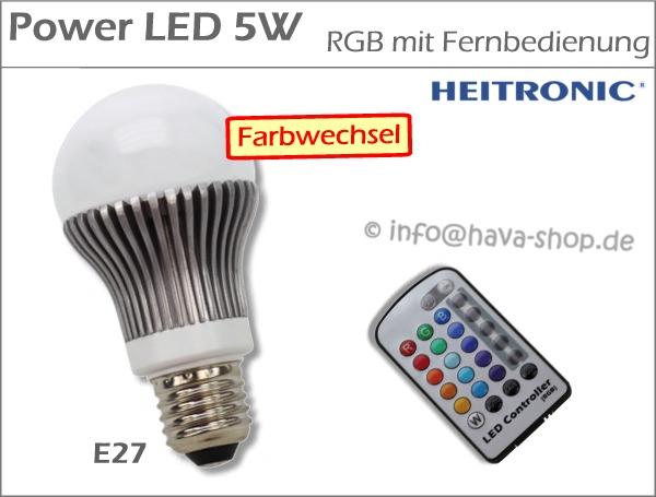 5w power led rgb fernbedienung licht lampe farbwechsel e27. Black Bedroom Furniture Sets. Home Design Ideas