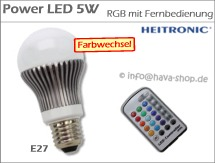 POWER LED Birne E27 5W RGB mit Fernbedienung