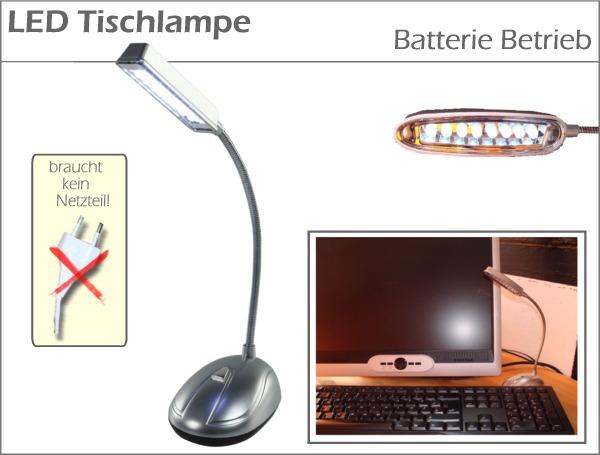led tischlampe batterie 8x led tischleuchte akku lampe. Black Bedroom Furniture Sets. Home Design Ideas