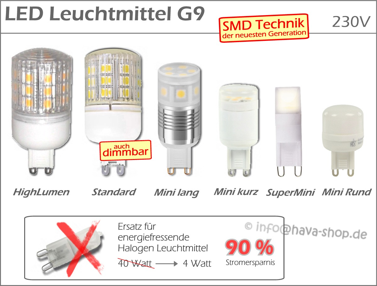 led smd g9 strahler spot gu9 mini leuchtmittel wei warmwei epistar g 9 dimmbar ebay. Black Bedroom Furniture Sets. Home Design Ideas
