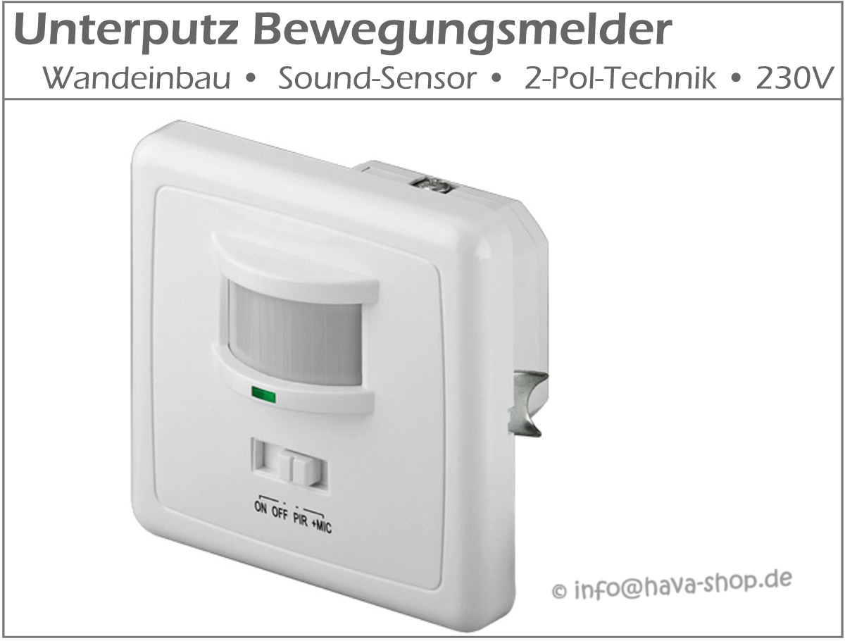 unterputz bewegungsmelder sensor up schalter einbau 230v 2 draht led geeignet. Black Bedroom Furniture Sets. Home Design Ideas