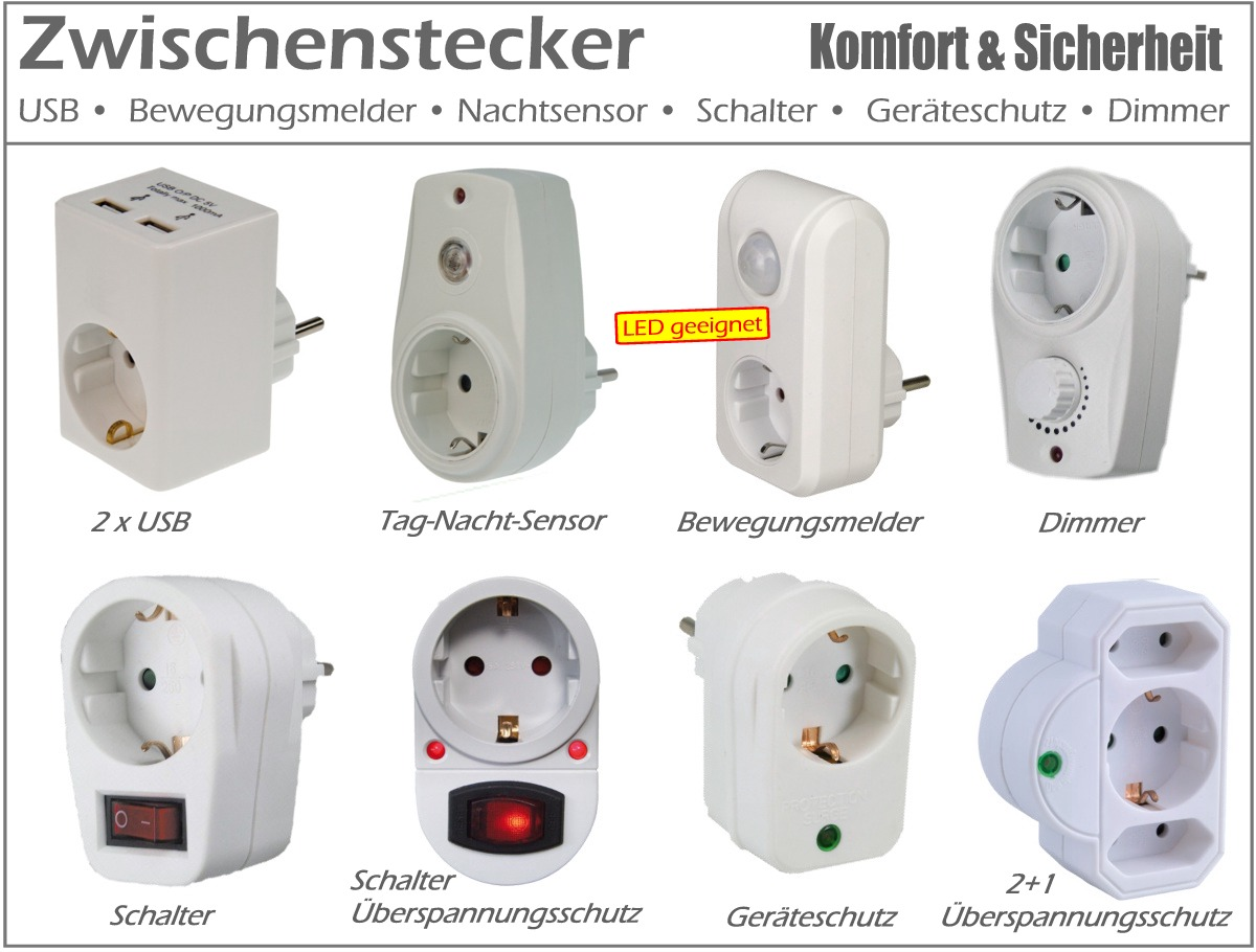 zwischenstecker usb steckdose steckdosen bewegungsmelder schalter adapter 230v ebay. Black Bedroom Furniture Sets. Home Design Ideas