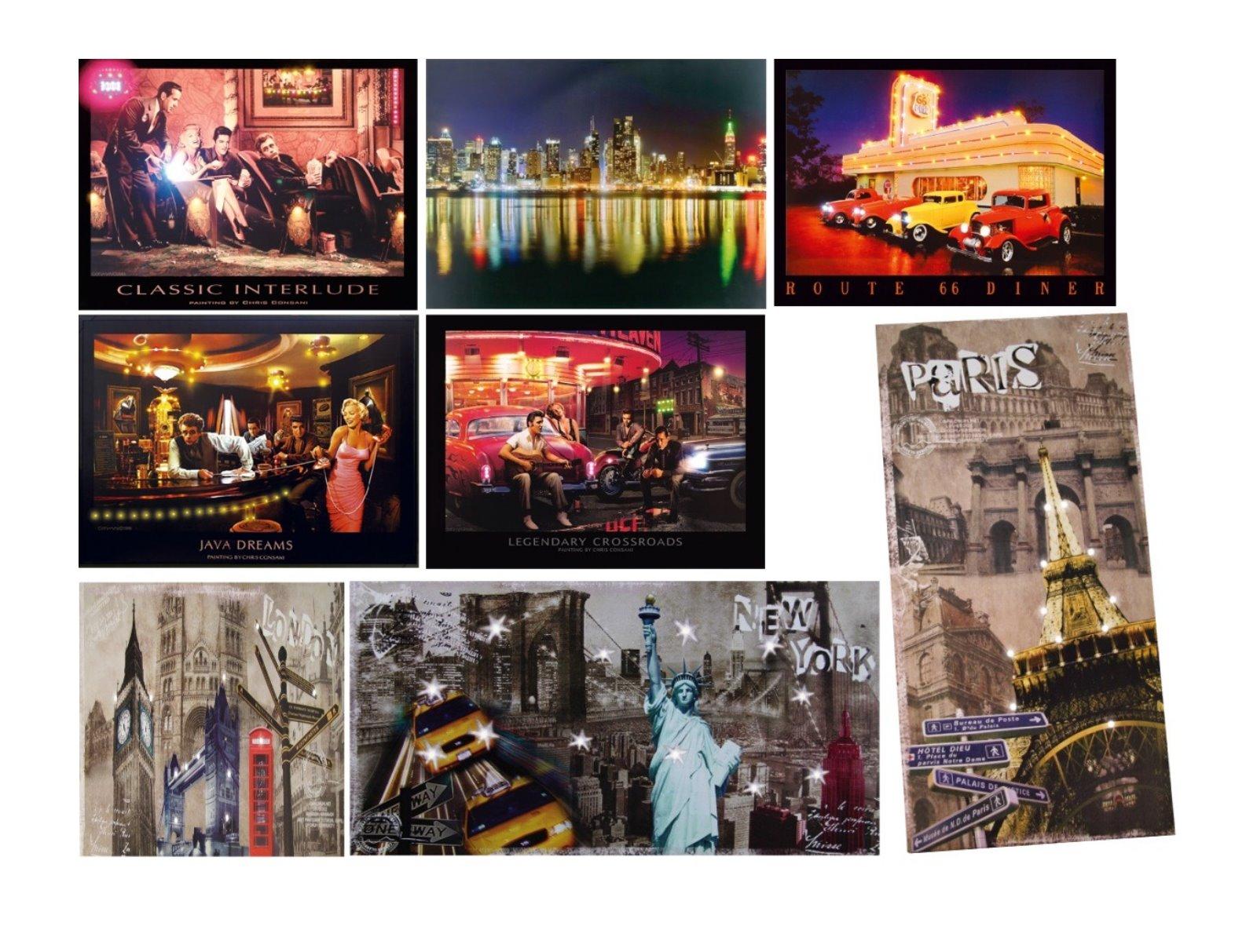 LED Bilder Beleuchtet Bild Schild Wandbild Rahmen Neon Retro Lounge ...