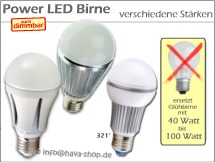 Power LED Birne E27 A60