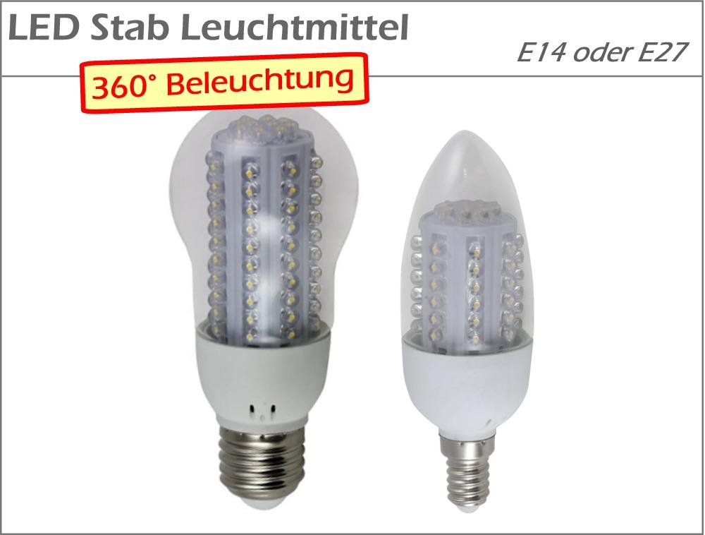 led 360 stab leuchtmittel mais kolben birne kerze e14 e27 warmwei kaltwei ebay. Black Bedroom Furniture Sets. Home Design Ideas