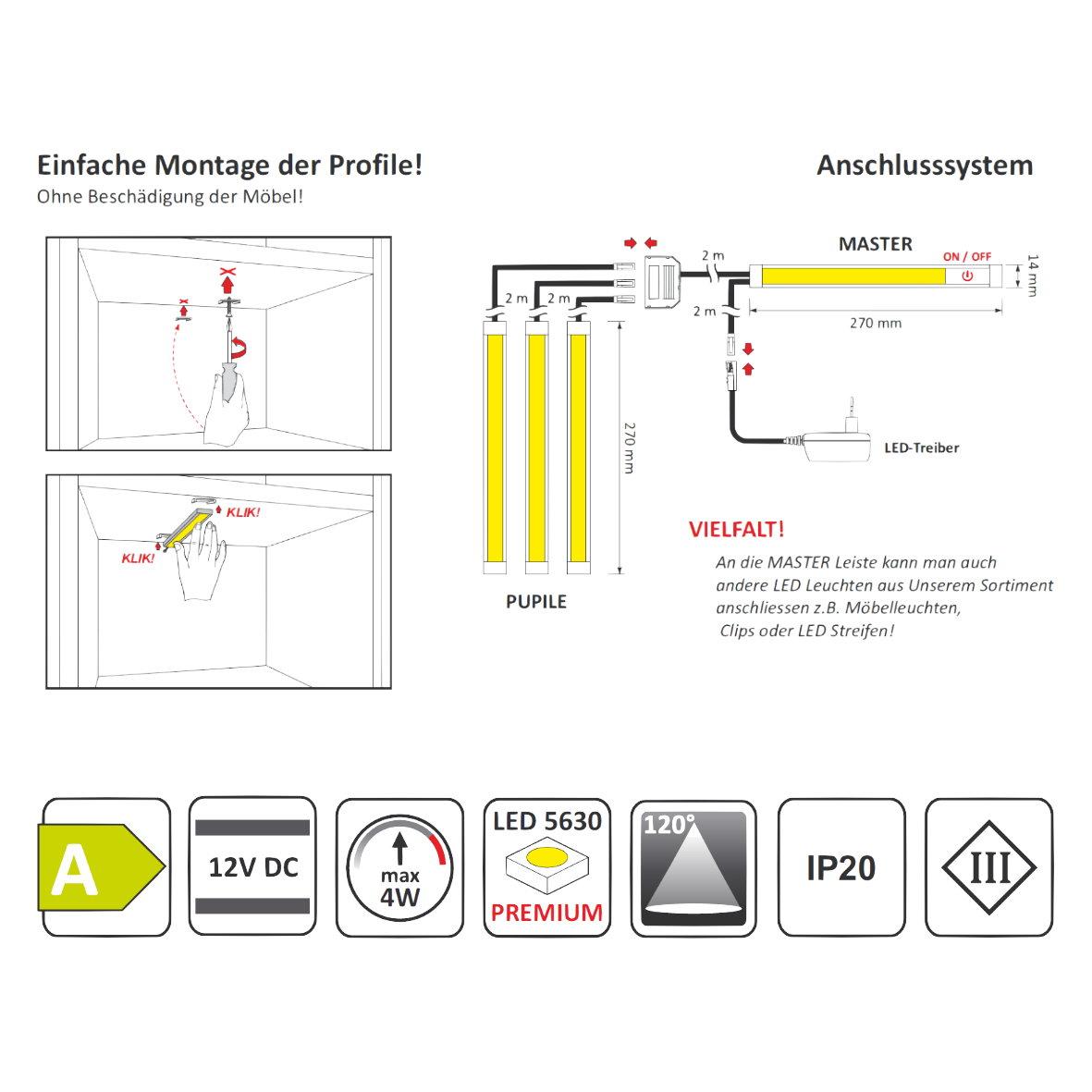 Led lichtleiste 12v clicksystem aluprofil profil unterbau for Design artikel shop