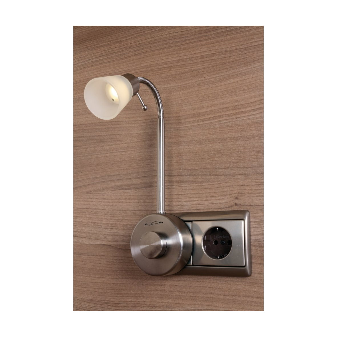 led steckdosenleuchte dimmer metall glas steckdose lampe leselampe 230v leuchte ebay. Black Bedroom Furniture Sets. Home Design Ideas