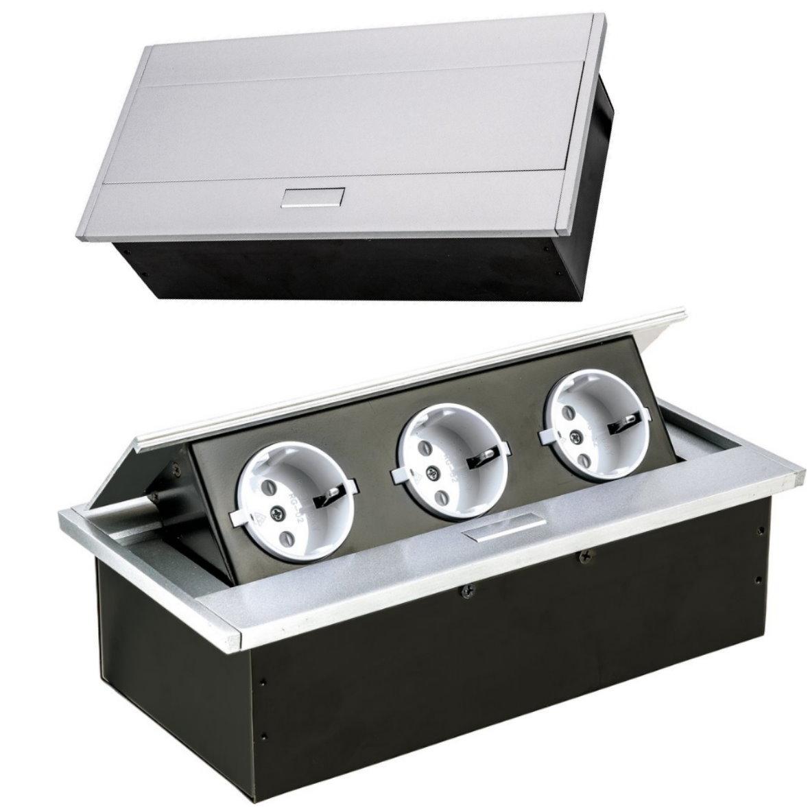 einbau steckdose versenkbar klappbar tischsteckdose tisch usb alu aluminium 3500 ebay. Black Bedroom Furniture Sets. Home Design Ideas