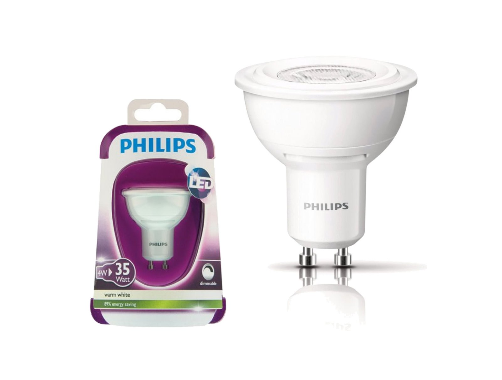 philips power led spot gu10 4w dimmbar reflektor dimmable warmwei schutzglas ebay. Black Bedroom Furniture Sets. Home Design Ideas