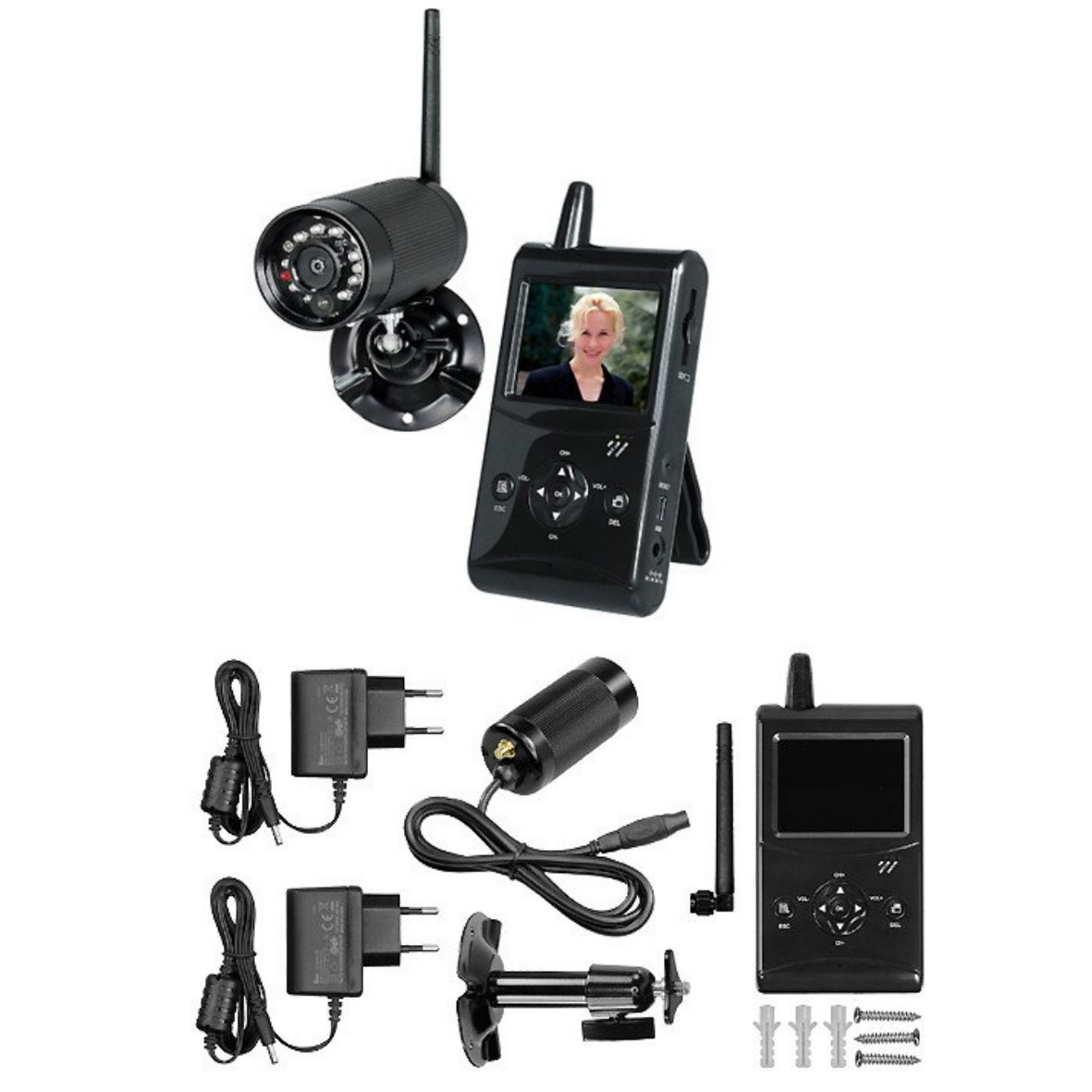 pentatech funk video berwachung kamera monitor funkkkamera wireless set digital ebay. Black Bedroom Furniture Sets. Home Design Ideas