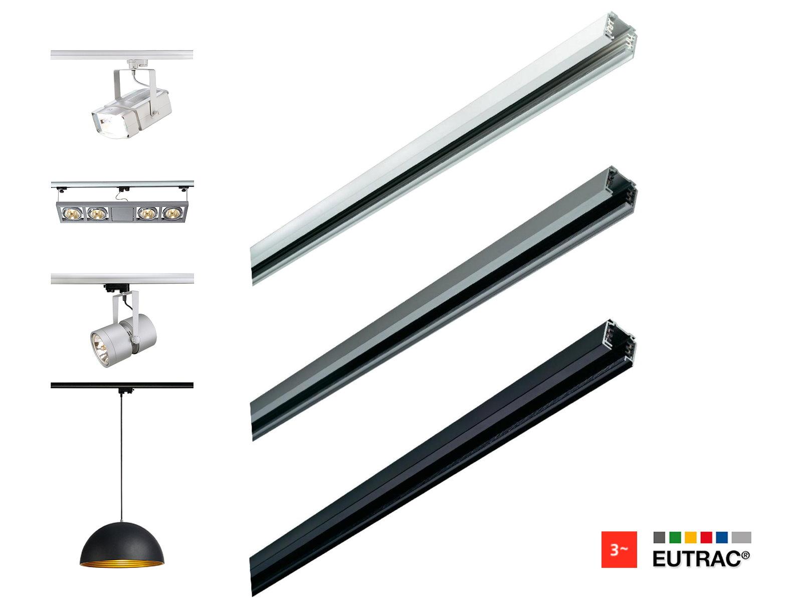 zubeh r eutrac 3 phasen einbauschiene stromschiene licht leiste profil schiene. Black Bedroom Furniture Sets. Home Design Ideas