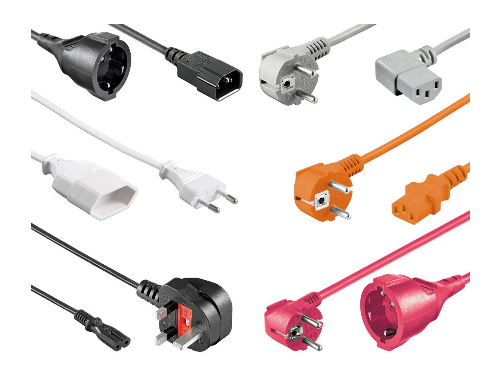 Stromkabel-Netzkabel-Netz-Strom-Kabel-Kaltgeraet-Verlaengerung-Buchse-Stecker-PC