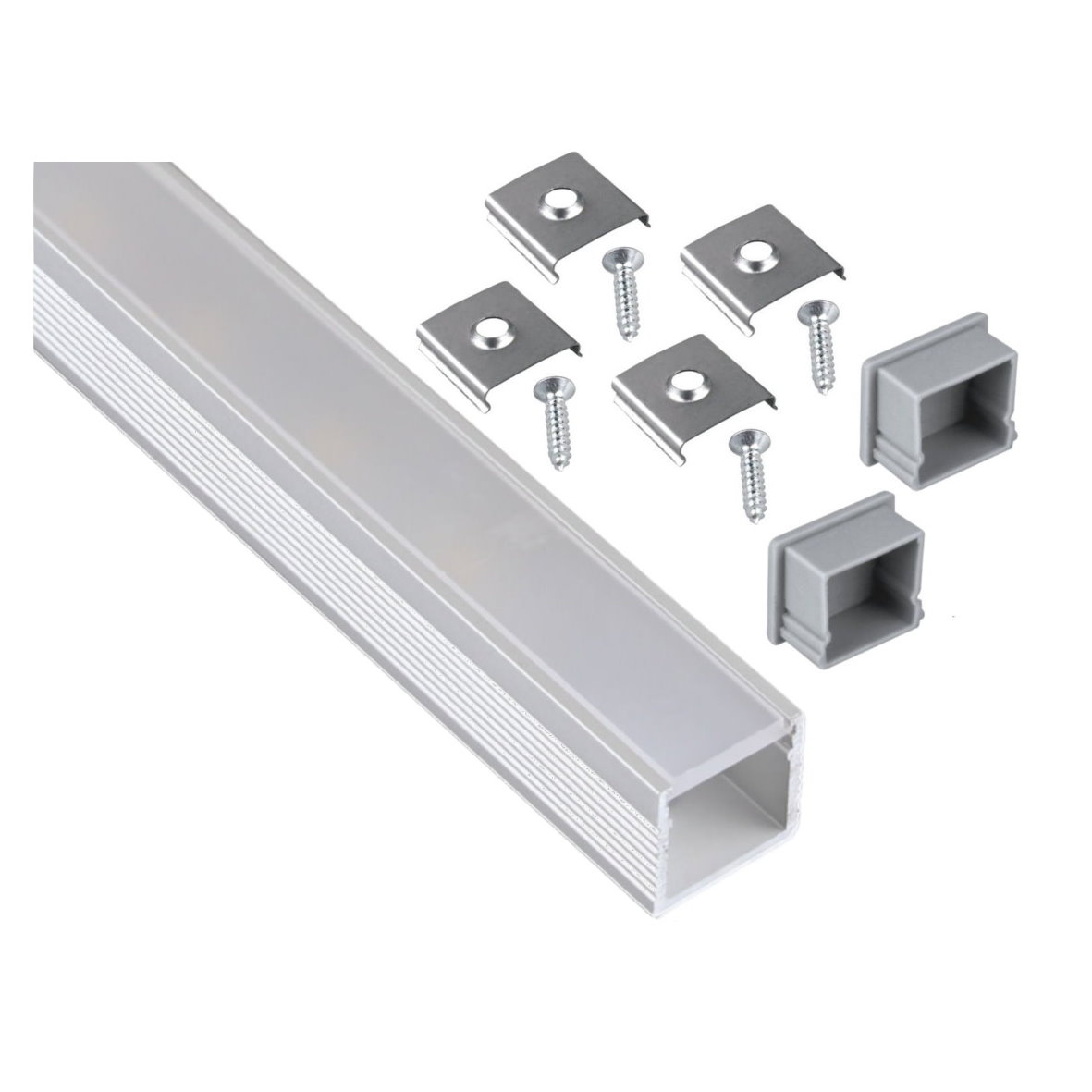 aluminium aufbau alu profil 2m abdeckung opal endkappe. Black Bedroom Furniture Sets. Home Design Ideas