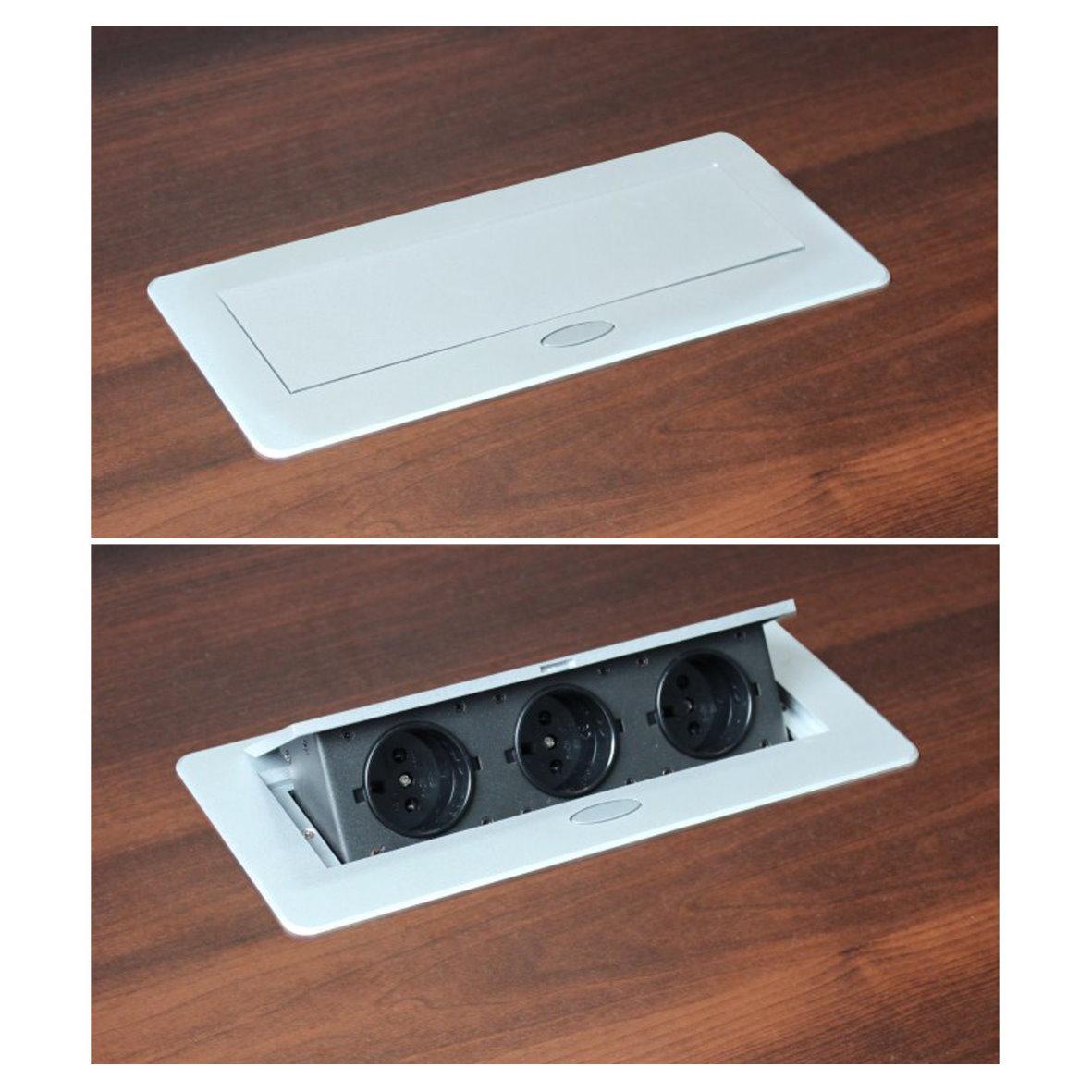 einbausteckdose 3 fach kabel 3m tischsteckdose bodensteckdose einbau steckdose ebay. Black Bedroom Furniture Sets. Home Design Ideas