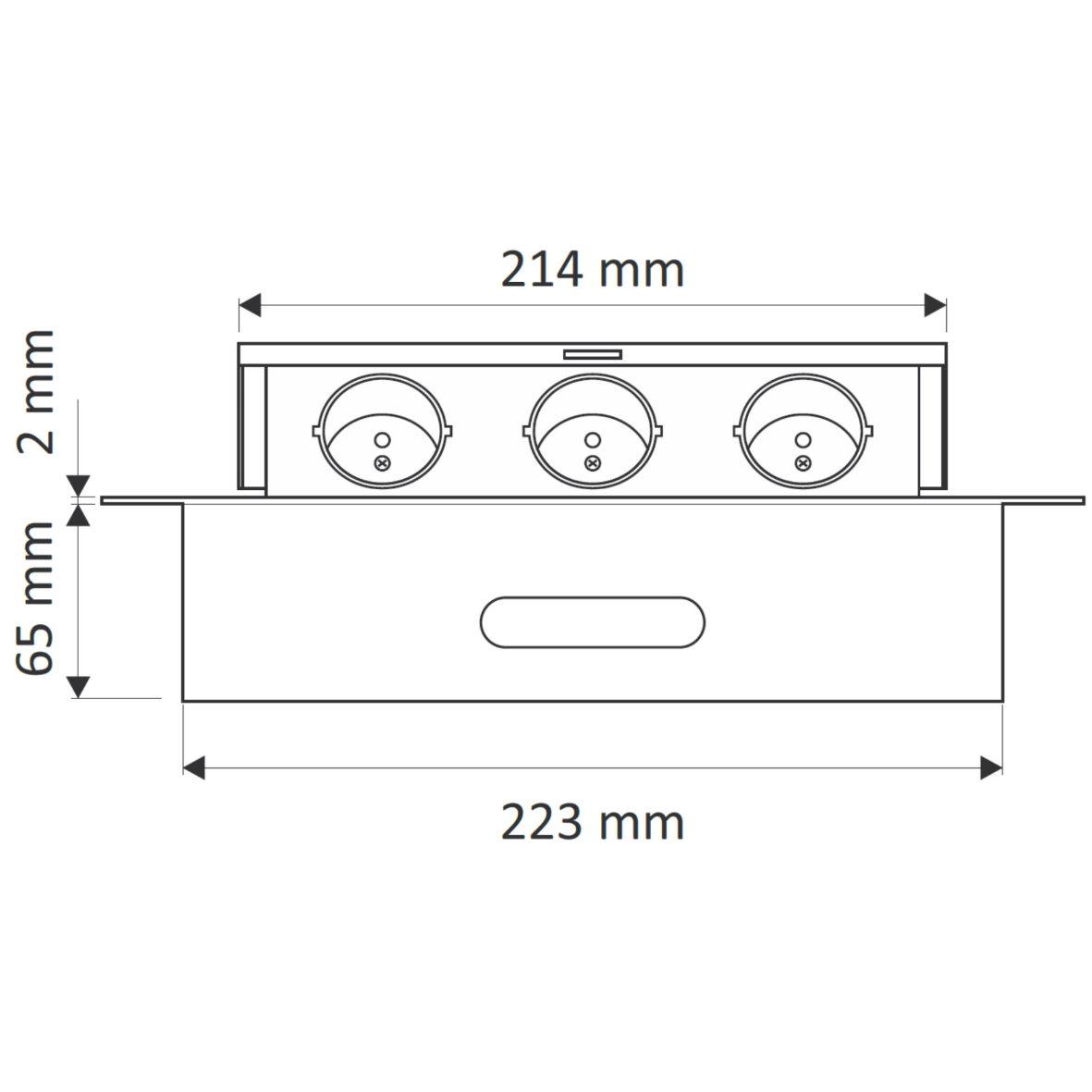 Versenkbare aluminium einbausteckdose 3 fach schwarz for Design artikel shop