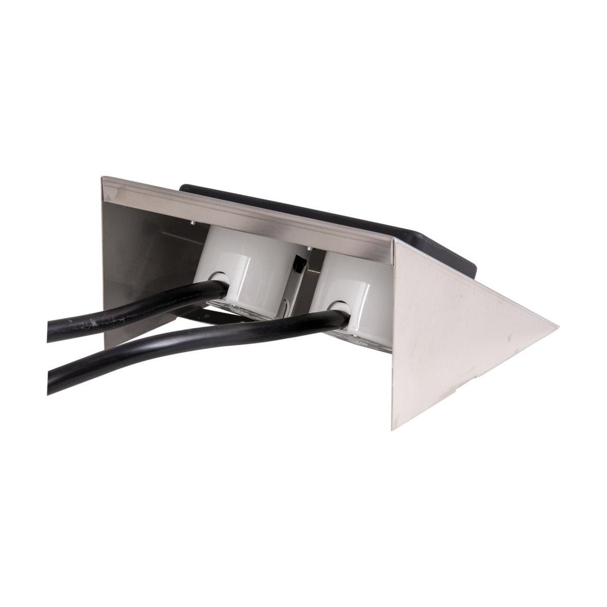 aufbau steckdose 2 fach edelstahl aufputz unterbau tisch. Black Bedroom Furniture Sets. Home Design Ideas