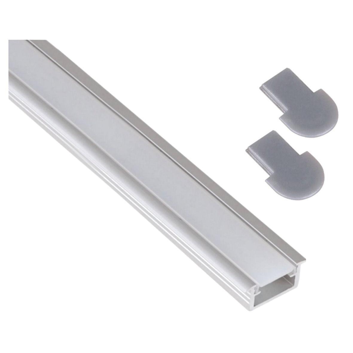 einbau alu profil leiste 2m flach abdeckung opal endkappe f r led stripe ebay. Black Bedroom Furniture Sets. Home Design Ideas