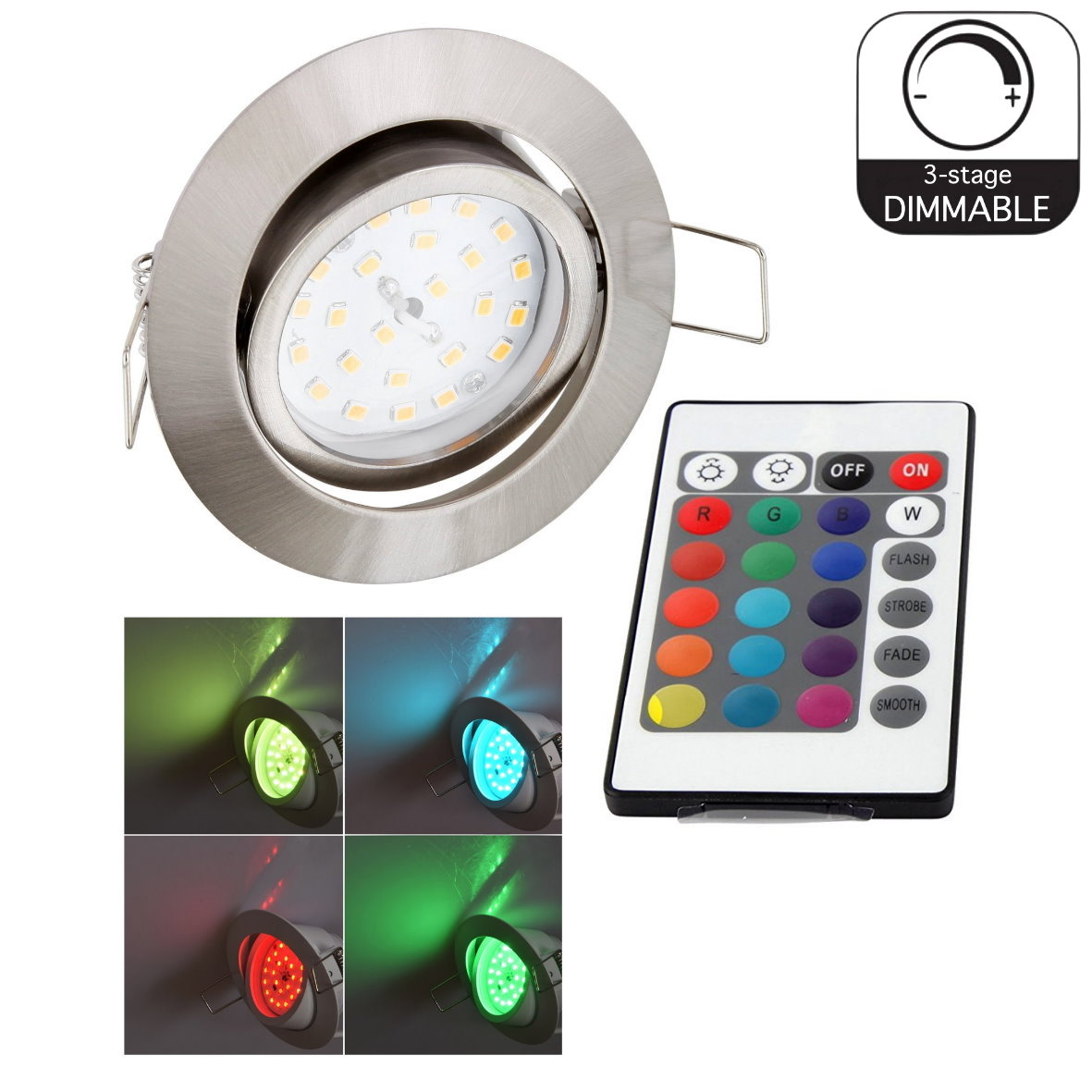 rgb led spot einbauleuchte einbaustrahler fernbedienung 230v farbwechsel dimmbar ebay. Black Bedroom Furniture Sets. Home Design Ideas