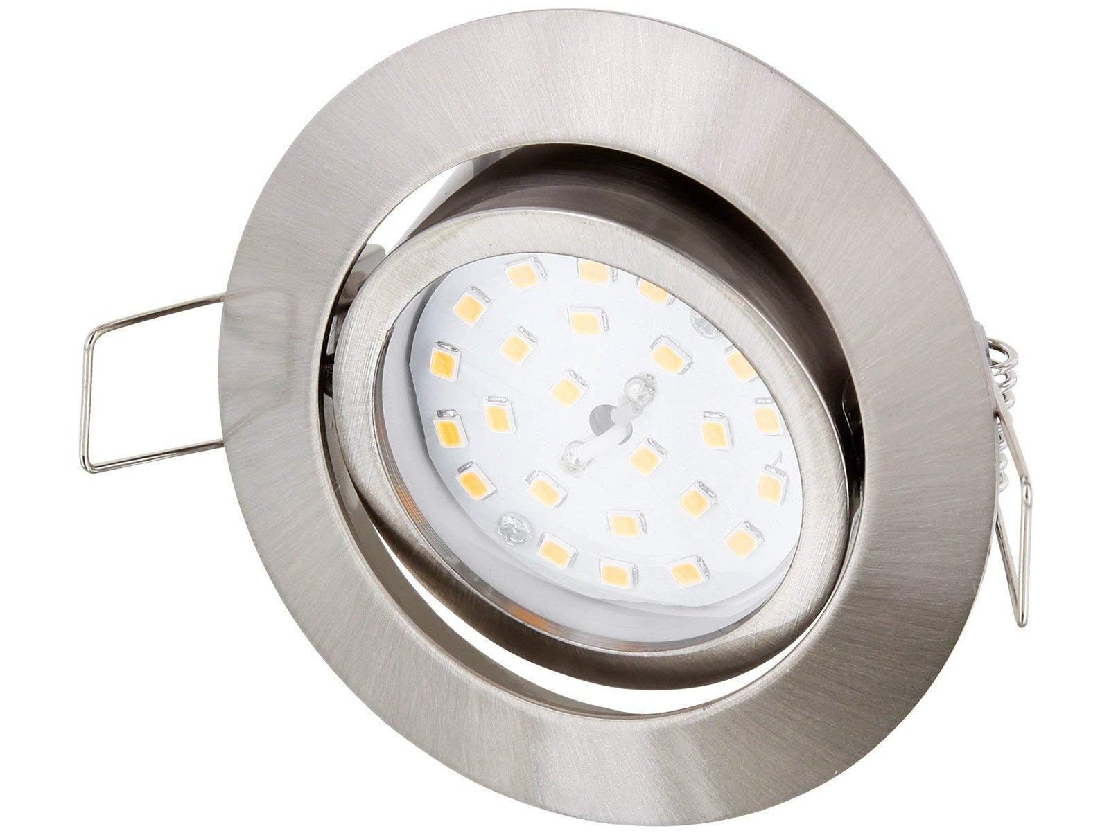 LED Slim Einbaustrahler 5W schwenkbar - edelstahl-gebürstet