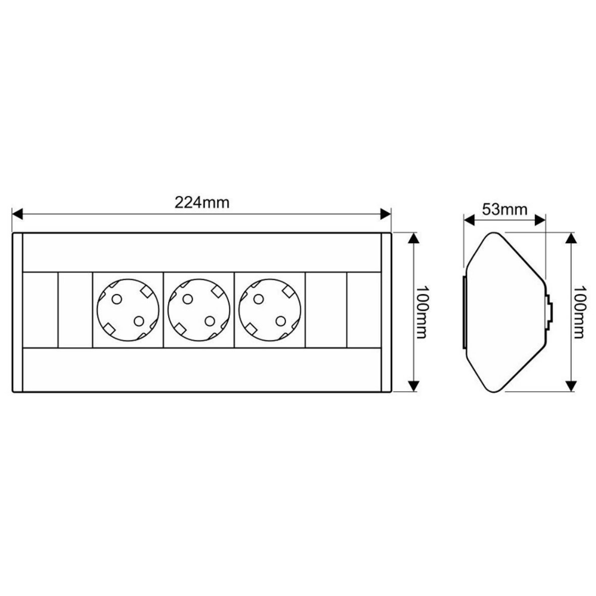 Aluminium ecksteckdose 3er steckdose s ule for Design artikel shop