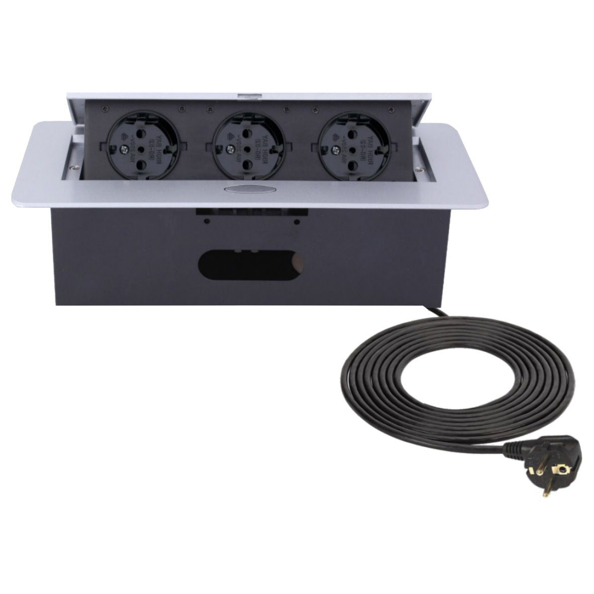 einbausteckdose 3-fach kabel 3m - tischsteckdose bodensteckdose