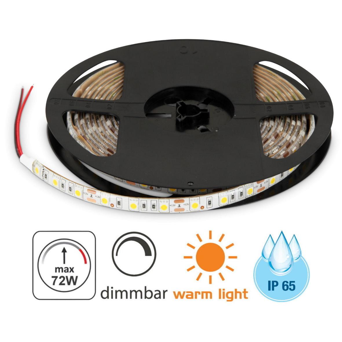 LED Stripe 5m 12V Dimmbar IP65
