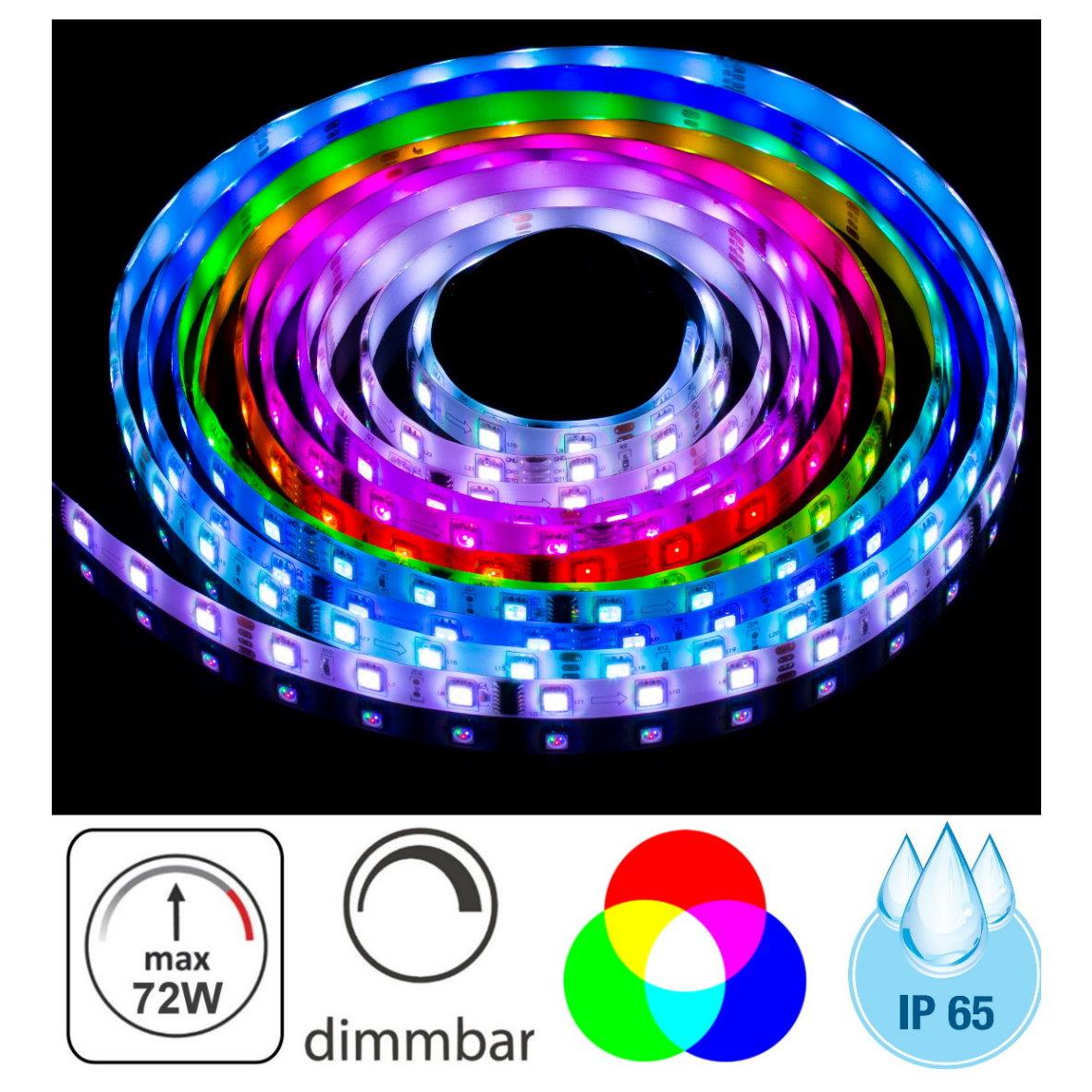 4 98 eur m led rgb lichtband 5m 72w ip65 dimmbar aussen strip 300x 5050 chip 4260499693411. Black Bedroom Furniture Sets. Home Design Ideas